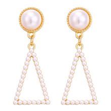Europe and America Creative retro simple geometric pearl hollow earrings Triangle female