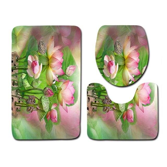 Il trasporto Libero 3 pz Fiore Verde Banyo Bagno Tappeto Wc U Tipo Tappetini da bagno Set Non Slip Pad Tapis Salle De Bain Alfombra Bano