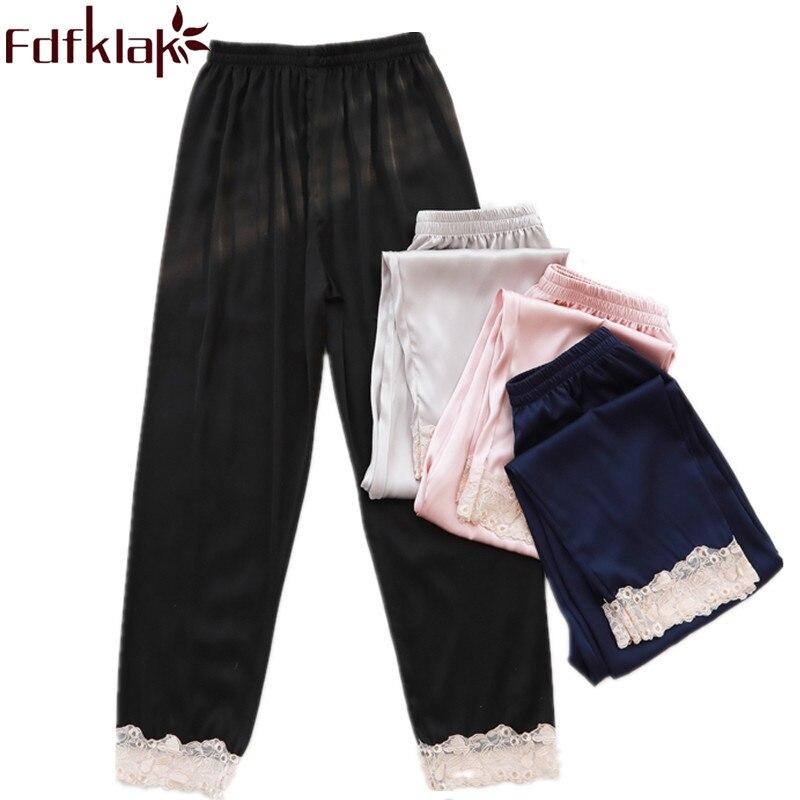 Unterwäsche & Schlafanzug Fdfklak Frühling Sommer Faux Silk Pyjama Hosen Spitze Schlaf Bottoms Pyjama Hosen Frauen Schwarz/navy Lounge Hosen Nachtwäsche Q1110