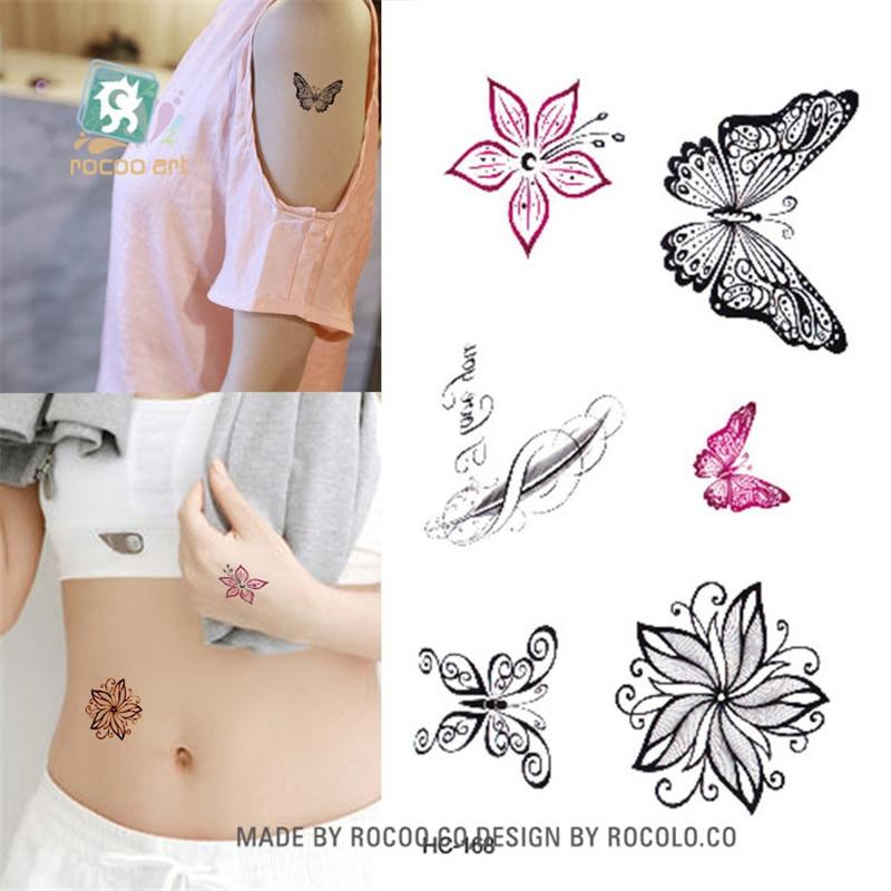 Body Art Sex Products waterproof temporary tattoos for men women Lovely black butterfly design flash tattoo sticker HC1168