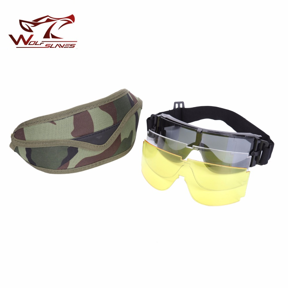 2017 Military X800 Tactical Camouflage Goggles Set x3Lenses Outdoor Skiing Bicycle Goggle Men Women Snow Sun Glasses
