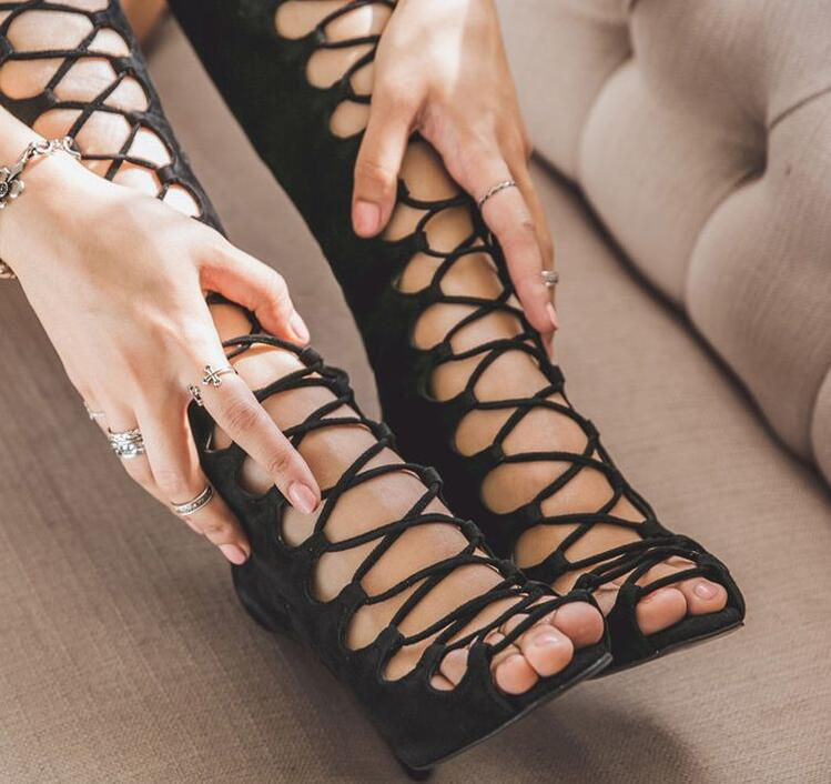 High Quality Black Stretch Fabric Peep Toe Lace up Womens Boots Thigh High Cut out Cross Straps Gladiator Summer Sandals Boots in Knee High Boots from Shoes
