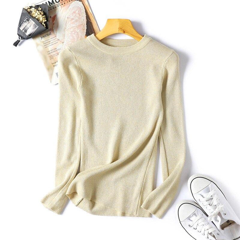 Womens Sweaters 18 Winter Shiny Lurex Autumn Winter Sweater Women Long Sleeve Pullover Women Tops Basic Christmas Sweater Pull 13