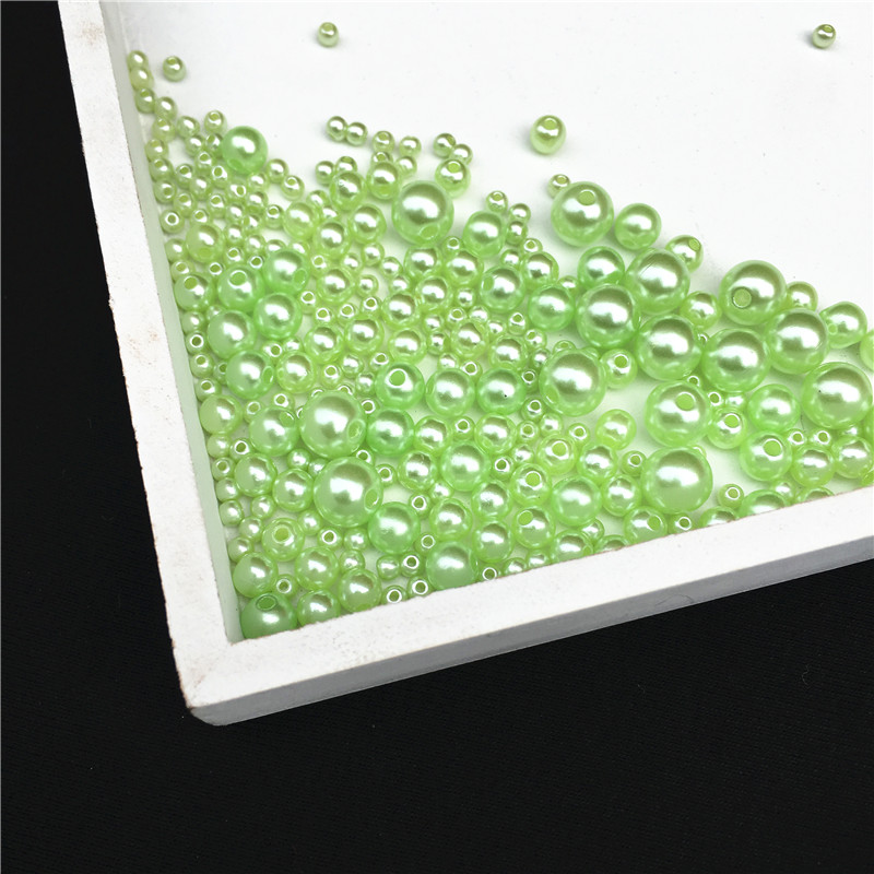 Green Round Imitation Garment Pearl With holes For DIY Art Necklace Fashion Jewelry Making Accessories 3/4/5/6/8mm