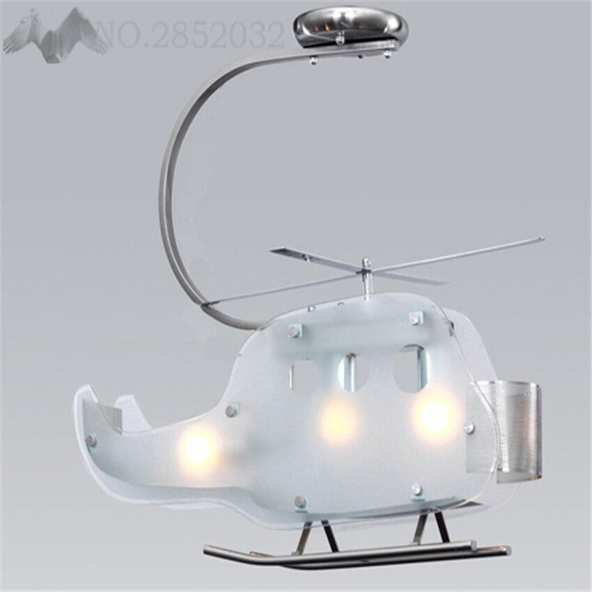 Krachtig Nieuwe Moderne Creatieve Cartoon Kinderen Helicopter Vorm Led Glas Plafondlamp Wit Vliegtuig Lampenkap Verlichting Voor Slaapkamer Cafe Deco Fijn Vakmanschap