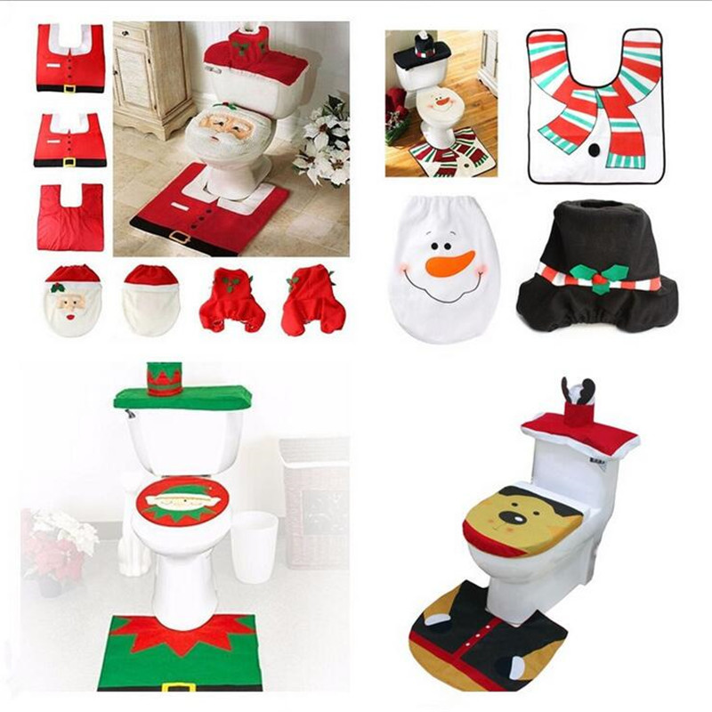 2018 Creative Santa Claus Toilet Decor Christmas Decorations Bathroom Christmas Decoration + Foot Pad + Rug