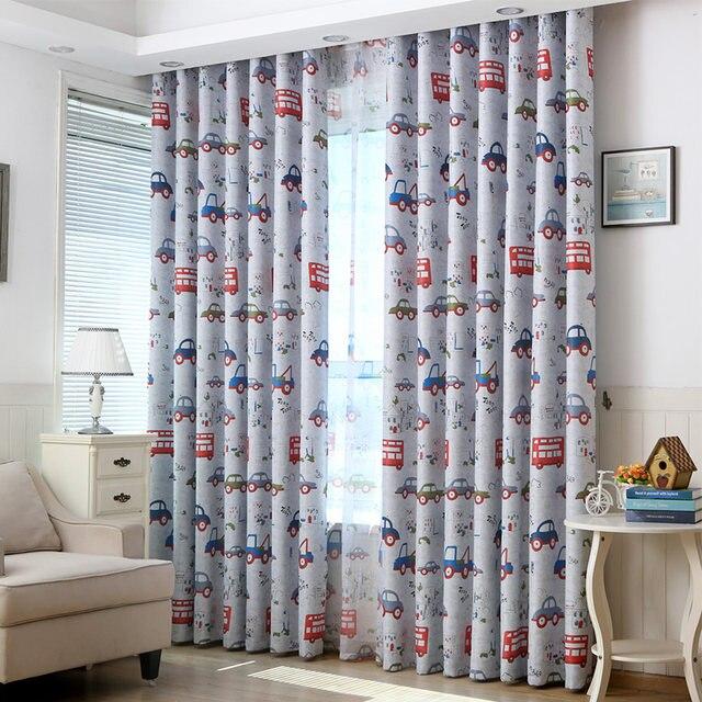 Topfinel Lovely Cartoon Car Curtains For Living Children Room Bedroom Decorative Kids Baby D