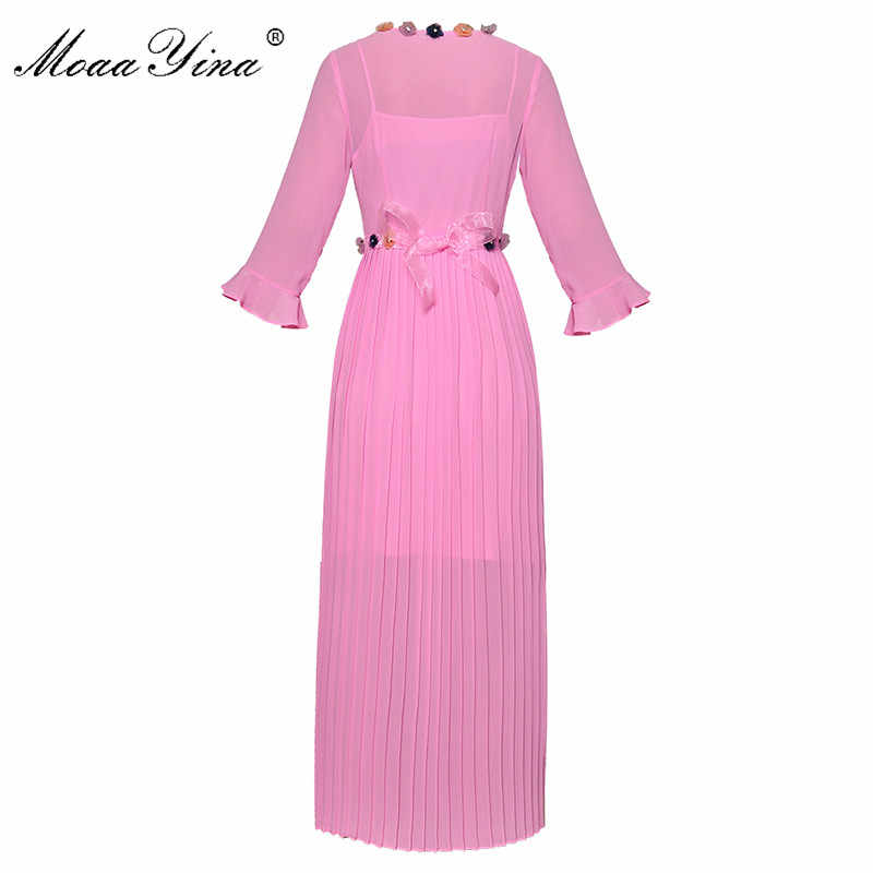 MoaaYina модное дизайнерское подиумное платье Весна Лето Женское платье плиссированные оборки на шнуровке аппликация шифоновые элегантные платья