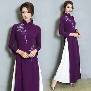Image 2 - ベトナム Ao Dai パッチワークタイトなドレス女性中国の伝統的な衣装袍チャイナ花女性オリエンタル衣装