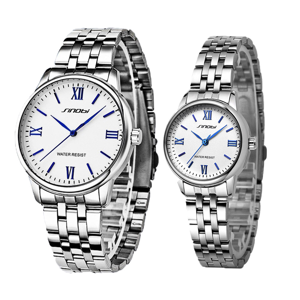 SINOBI Couple Watch Women Watches Mesh Strap Quartz Clock Simple Casual  Lovers Watch Fit Watch Anniversary Gift Orologio Uomo