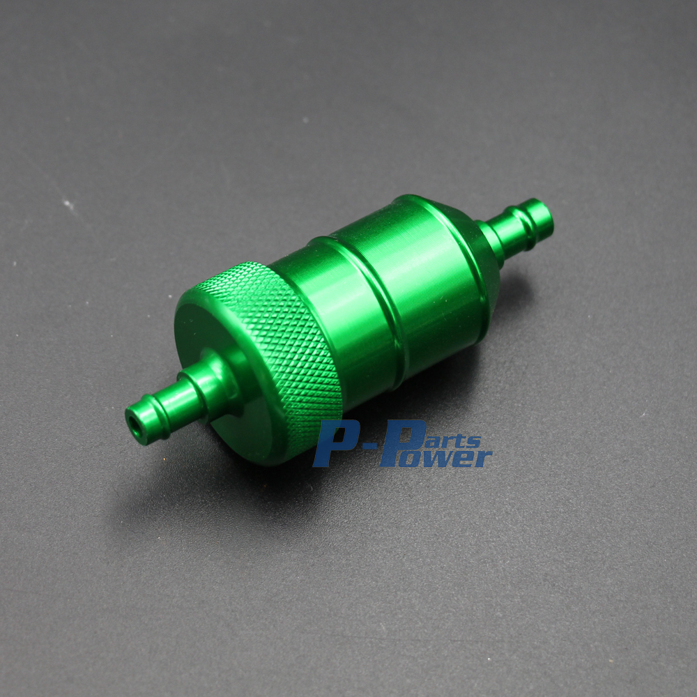 1 4 6mm cnc inline fuel gas filter motorcycle pit dirt quad bike atv go kart green new [ 1000 x 1000 Pixel ]