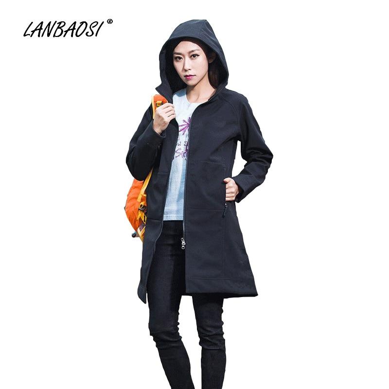 ФОТО LANBAOSI Waterproof Windproof SoftShell Jackets for Women Anti-UV Breathable Outdoor Sports Hiking Climbing Jacket Trench Coat