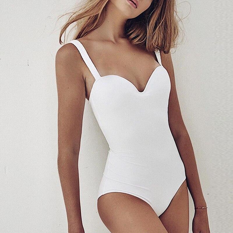 Vintage Swimsuit Bodysuits Bikini Turmeric Beach-Wear Push-Up One-Piece White Underwire