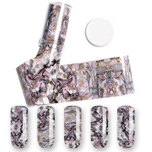 Image 5 - 3D 1 rouleau 4*120CM océan Style coquille Abalone motif ongles feuilles dégradé marbre conception feuilles Nail Art transfert thermique feuille
