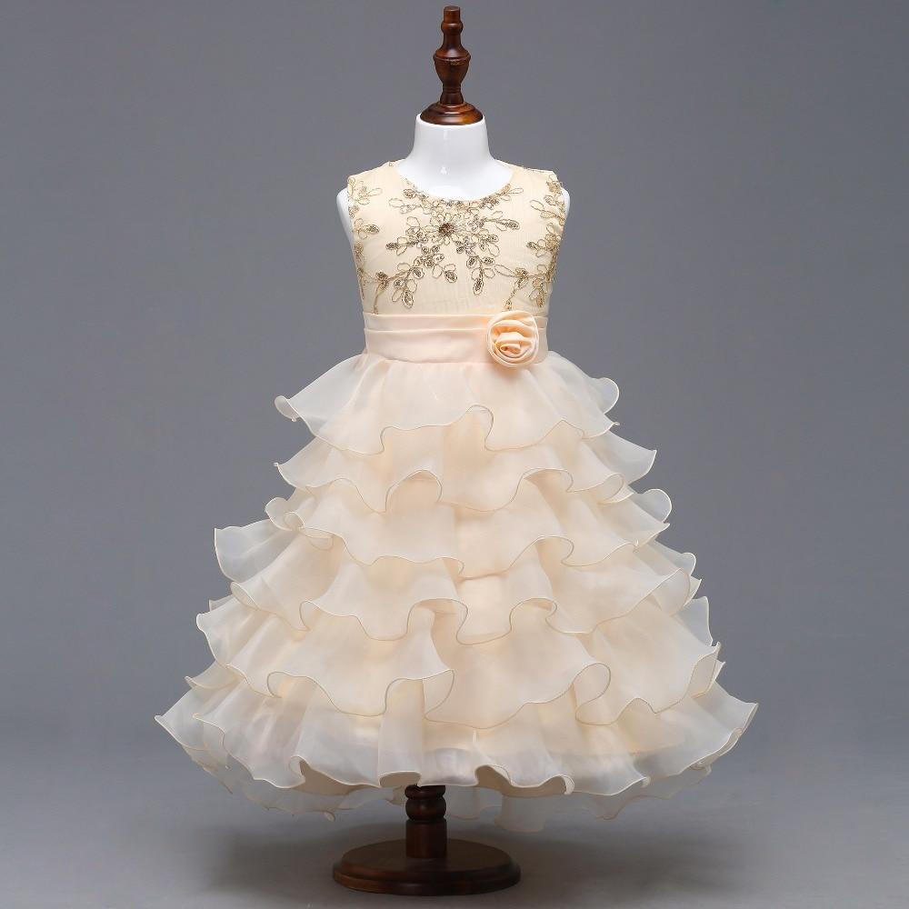 New O-neck Sleeveless Ruffle Little Flower Girl Dresses Elegant Big ...