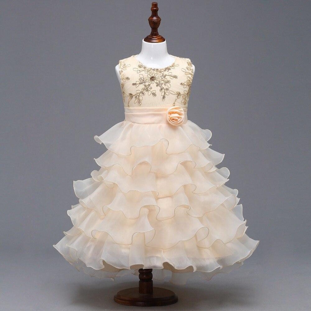 New O-neck Sleeveless Ruffle Little   Flower     Girl     Dresses   Elegant Big Bow   Girl     Dress   Princess Ball Gown 2019