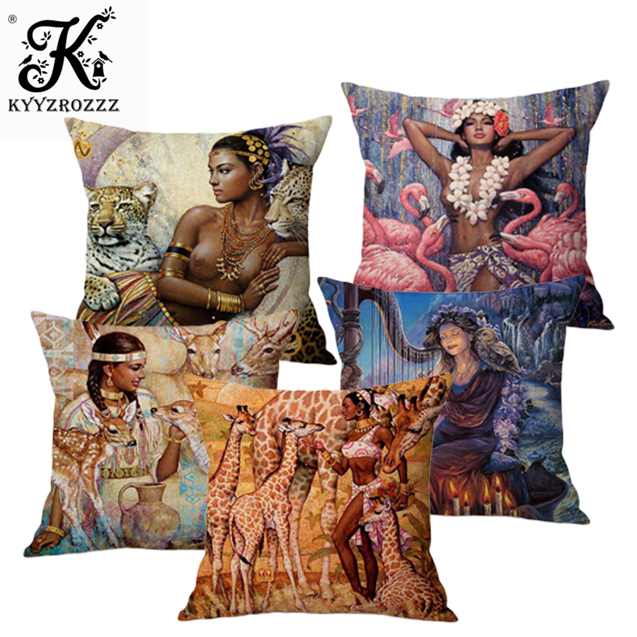 Vintage African Indian Sexy Girl Women Wild Animals Oil Painting Art Home Decorative Throw Pillow Case Linen Sofa Cushion Cover in Cushion Cover from Home Garden