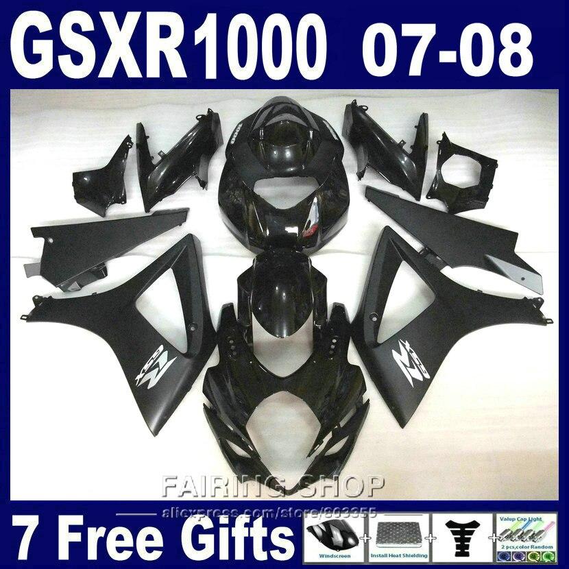 Hot sale ABS plastic fairing kit For Suzuki GSXR 1000 07 08 black fairings set GSXR1000 2007 2008 PG08