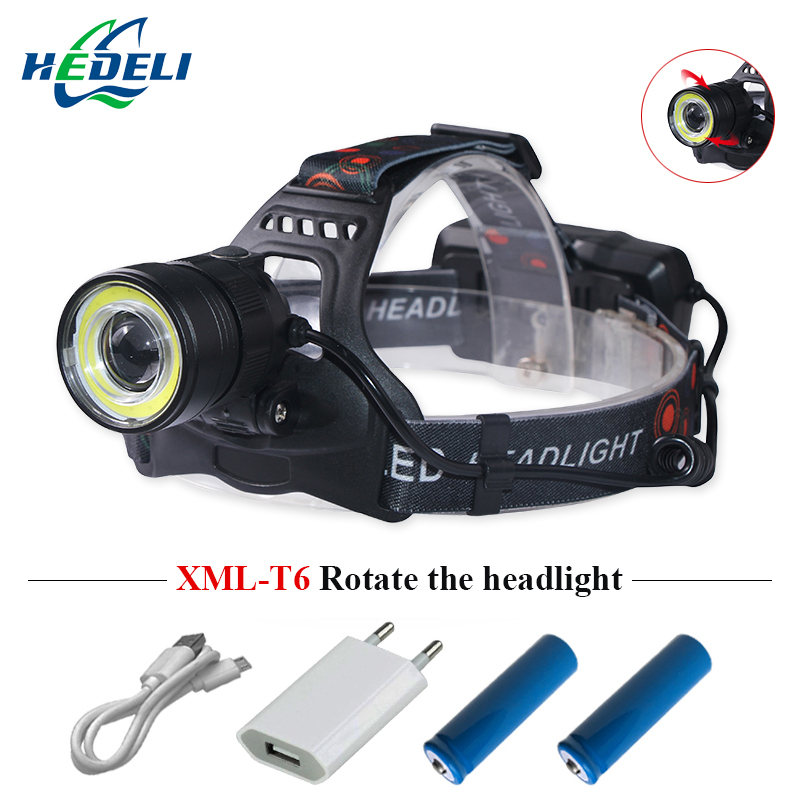 powerful LED Headlight CREE xml t6 cob Headlamps waterproof usb charge Head Lantern 2x18650 Frontal Lamp Camping Zoom Head Torch