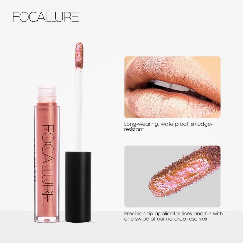 FOCALLURE Soft Matte Lip Cream Lip Gloss Chameleon Matte Lipstick Shimmer Glitter Lip Gloss Lipgloss Kit glitter lip gloss N40 3