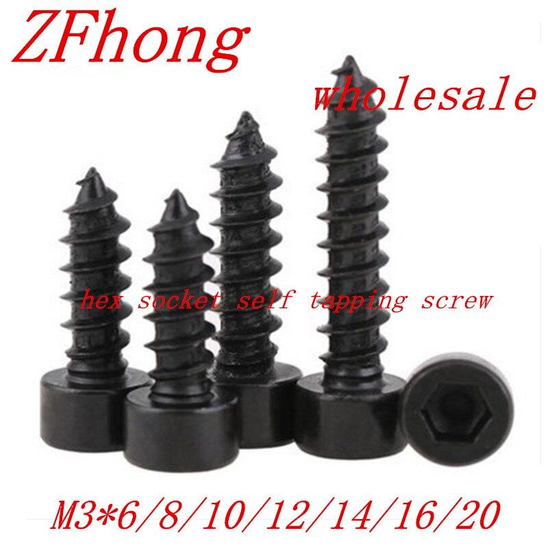 20pcs M3*6/8/10/12/16/20 Black Hex Hexagon Socket Cap Head self tapping screw Model Screw 100pc din912 m3 x 20 white plastic nylon screw hexagon hex socket head cap screws