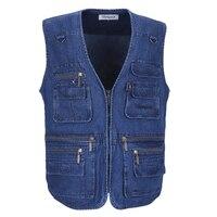 Denim Men Vest Cotton Sleeveless Jackets Blue Casual Fishing Vest with Many Pockets Plus Size 10XL Outdoors Waistcoat Male Vest
