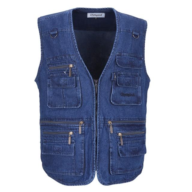 f0aba4cda6106 Denim Gilet Hommes Coton Sans Manches Vestes Bleu Casual Gilet De Pêche  avec De Nombreuses Poches