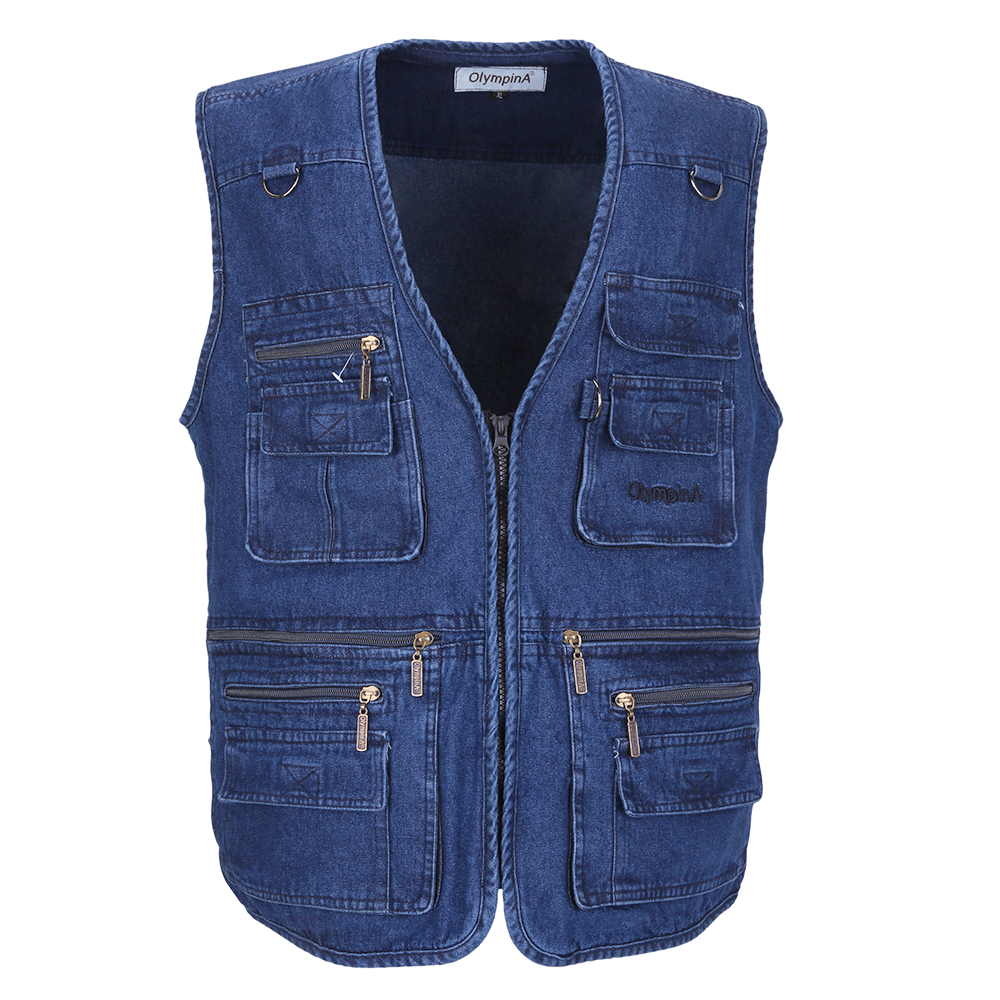 Denim Vest Menn Cotton Ermeløs Jakker Blue Casual Fishing Vest Med Mange Lommer Plus Size 10XL Outdoors Veske