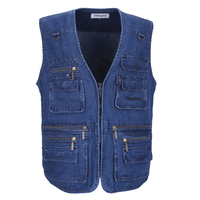 Olympinaメンズジャケット綿のベストノースリーブデニム固体ベストカジュアルマルチポケット定期的なプラスサイズ9xl 10xlチョッキ