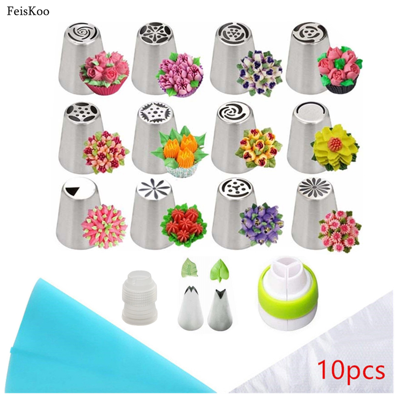 18pcs/Set Russian Piping Tips Stainless Steel Pastry Nozzles For Cream With Pastry Bag Cake Tools Icing Piping Confectionery Tip(China)