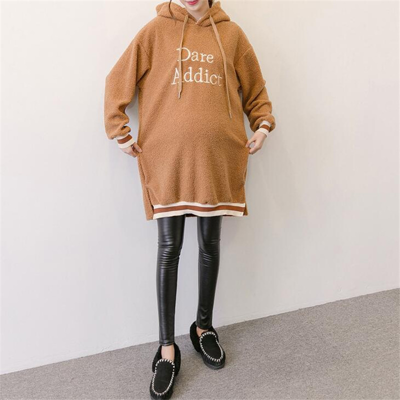 Maternity Fashion Clothes Autumn Winter Thick Hoodie Women Loose Crossfit Hooded Tracksuit Pregnant Letters Embroidery Hoodies maternity clothes new stely fashion loose pure color cloak jacket clothes for pregnant women coat