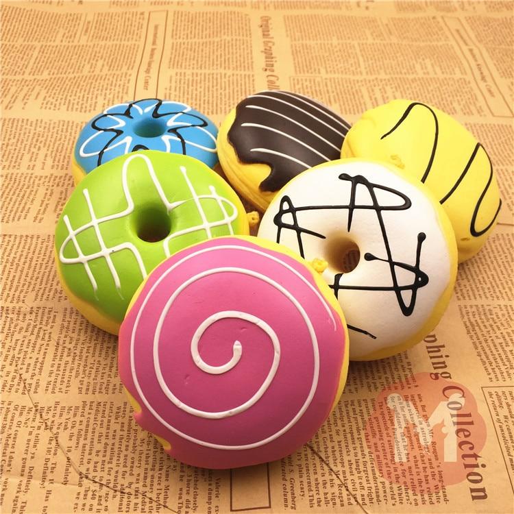 imágenes para Comercio al por mayor 10 unids/lote kawaii Rosquilla simulación fragancia jumbo bollo blando queeze juguetes lindo squishies pan