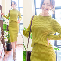 Good Quality Dress Suit Woman 2017 Winter New Arrived Knitted Cotton Sweater Midi Skirts Split Stretch