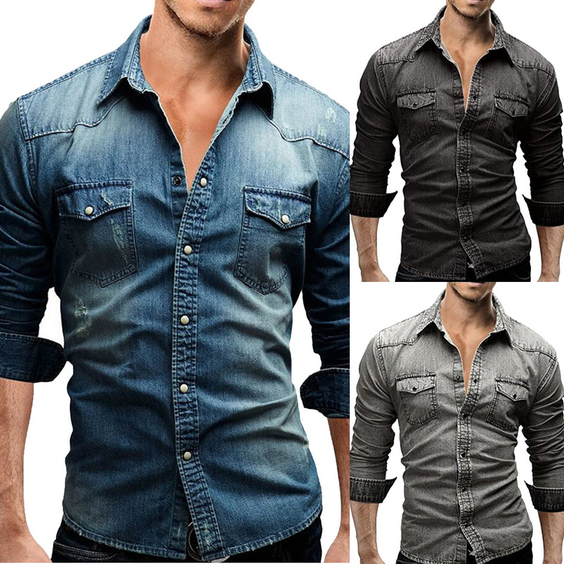 NIBESSER Jeans Shirt Long-Sleeves Wash Autumn Fashion Men High-Quality Denim Slim Tops