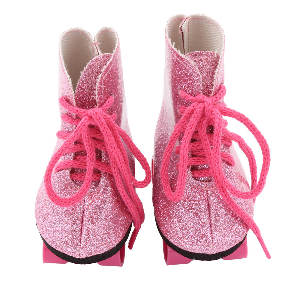 18 inch doll shoes Glitter Doll Roller Skates For 18 Inch Our Generation American Girl Doll accessories high quality warm pink boots doll shoes for 18 inch american girl doll for baby gift