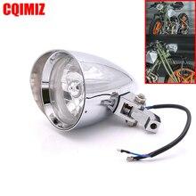 цена на Chrome Aluminum Bullet Style Motorcycle Headlight Head Lamp For Harley Chopper Bobber Custom Bike
