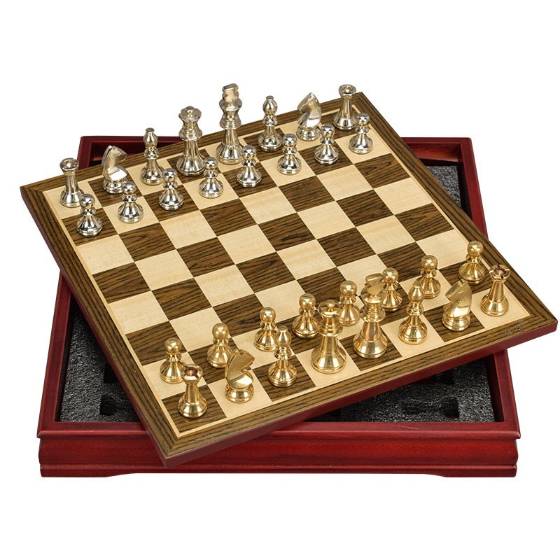 High Quality Hot Classic Zinc Alloy Pieces Chess Wood Coffee Table Pattern Professional Chess Set Traditional Family Board Games