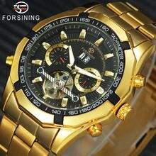 Победитель золотые мужские часы скелетоны Роскошные от топ бренда