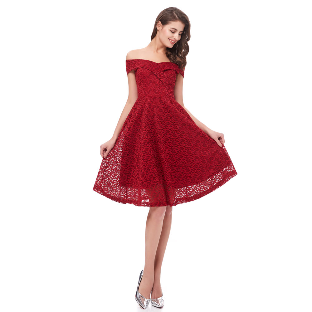 Beauty Emily Lace Wine Red Prom Dresses 2020 for Women A-Line  Sleeveless Homecoming Party Prom Dresses