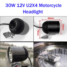 Huiermeimi 2PCS 30W 4*U2 12V motorcycle headlight sportster spot head lights moto cafe racer led spotlights motorbike headlamp(China)