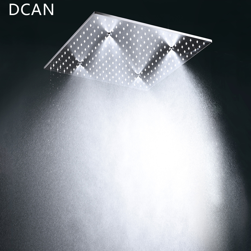 DCAN Wholesale Luxury 20 Inches High Flow Stainless Steel Ceiling Shower Heads System Thermostatic Mixer LED Shower Faucet in Shower System from Home Improvement
