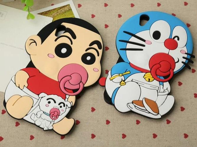cute 3d candy Cartoon Crayon Shin chan Doraemon Graffiti Silicone rubber Soft Cover Case for HTC