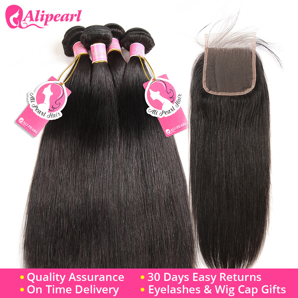 Human Hair Weaves Alipearl Hair 100% Human Hair Water Wave Bundles With Closure Peruvian Hair Weave 3 Bundles Natural Color Remy Hair Extension Less Expensive Hair Extensions & Wigs