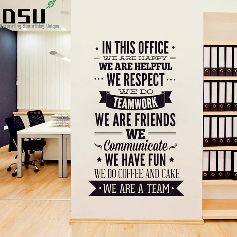 Large Size Quotes Wall Sticker - Office Rules Vinyl Decals  We Are A Team Increase Team Cohesion 3D Decal Office Home Decor