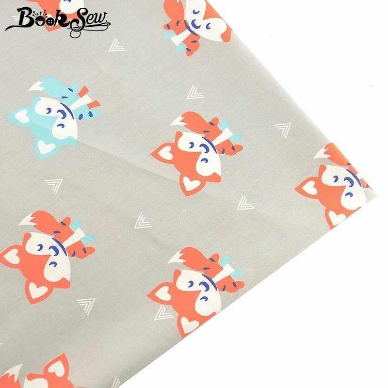 Booksew 100% ผ้าฝ้ายผ้า Tecido Tissu Fox Design สัตว์ DIY Handmad Quilting ผ้าคลุมเตียงเด็กผ้าเย็บผ้า Patchwork Craft Tela