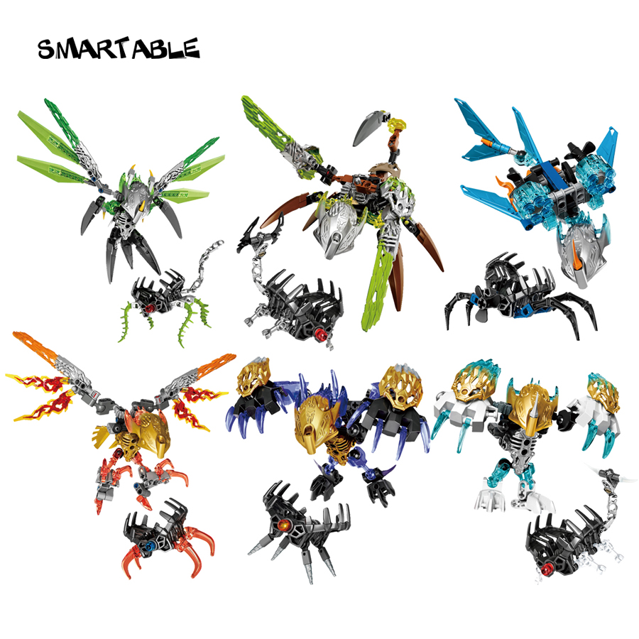 Smart BIONICLE 6 st / set Jungle Stone Water Earth Ice Fire Figur Byggblock Leksaker För Boy Kompatibel Legoing BIONICLE