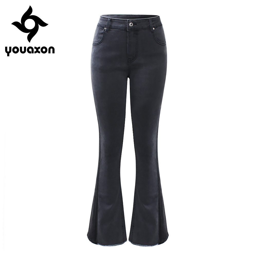 2019 Mode 2194 Youaxon Marke Neue Eu Größe Flare Jeans Frau Plus Größe Stretchy Dark Grau Denim Dünne Hosen Hosen Für Frauen Jeans