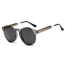 Retro Round Sunglasses Women Men Brand Design Transparent Fe
