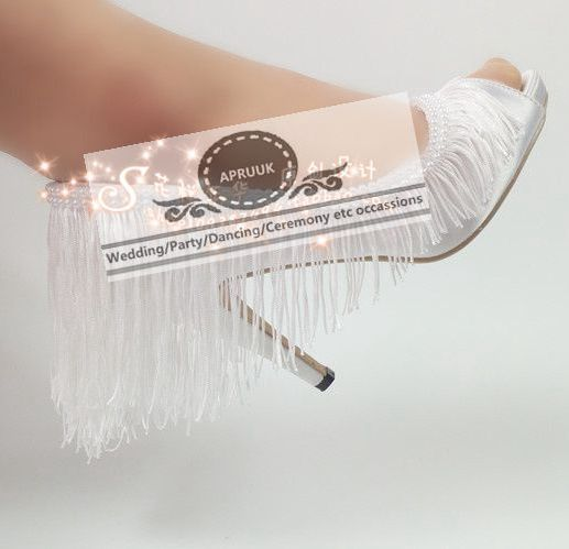 Sexy high heels white satin wedding shoes woman bride open peep toes plus size summer fringe tassel bridal pumps shoes white plus open front tassel trim kimono