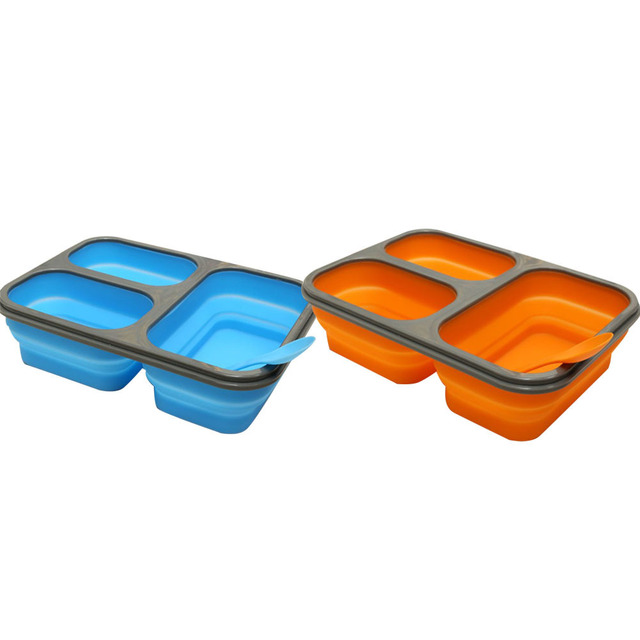 Collapsible Lunch Box BPA Free Silicone Bento Boxes Folding Bowl